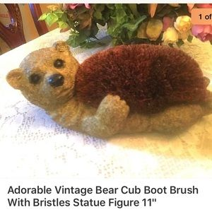 """Other - Adorable Vintage Bear Cub Boot Brush Statue 11"""""""